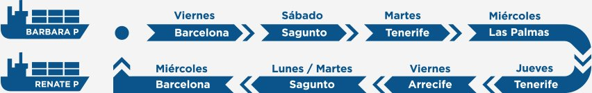 Weekly service to the Canary Islands from barcelona and sagunto
