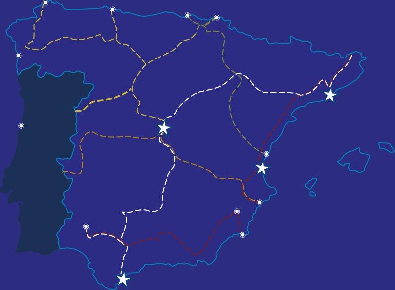 Mapa de conexiones logísticas de España